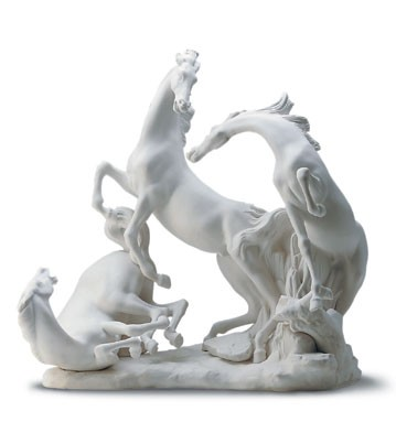 Lladro Horse's Group in White 1969-05 Porcelain Figurine
