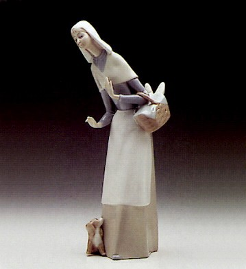 Lladro Shepherdess With Dog 1969-89 Porcelain Figurine