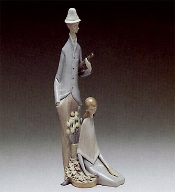 Lladro Violinist With Girl 1969-91 Porcelain Figurine