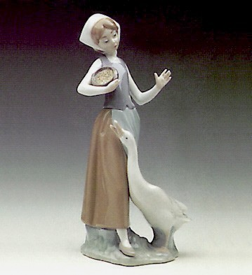 Lladro Girl With Duck 1969-99 Porcelain Figurine