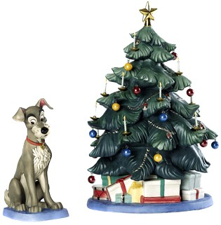 At Home Christmas Trees.Wdcc Disney Classics Lady And The Tramp Tramp And Tree At Home For Christmas