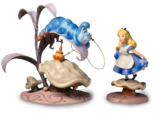 WDCC Disney Classics Alice In Wonderland Caterpillar & Alice Who R U And Properly Polite