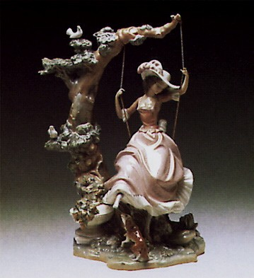 Lladro Victorian Girl on Swing 1974-89 Porcelain Figurine