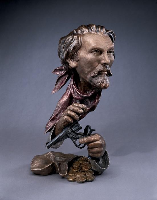 Mark HopkinsJesse JamesBronze Sculpture
