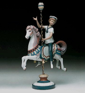 Lladro Boy On Carousel Horse 1985-2000 Porcelain Figurine