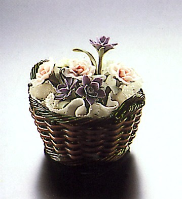 Lladro Small Brown Flower Basket