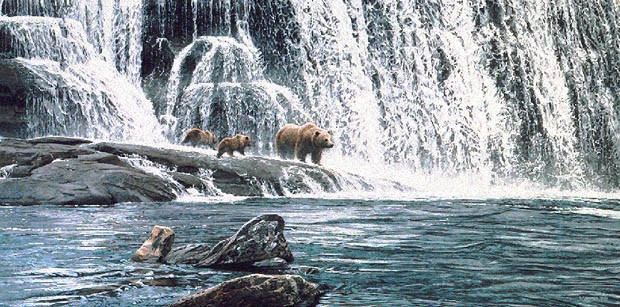 Ron Parker GRIZZLIES AT THE FALLS Lithograph