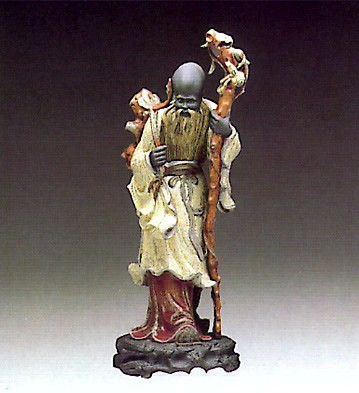 Lladro Chinese Farmer With Staff 1977-85 Porcelain Figurine