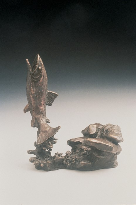 Mark Hopkins Trout Bronze Sculpture