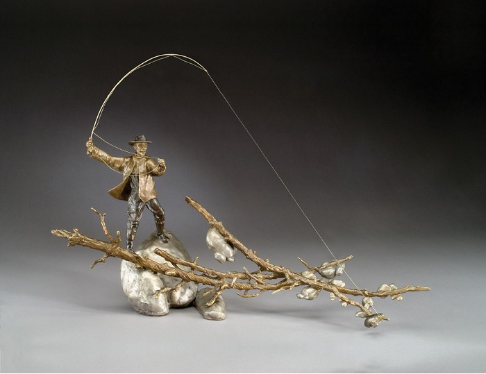 Mark Hopkins Setting the Hook (male) Bronze Sculpture