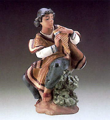 Lladro Andean Flute Player 1987-89 Porcelain Figurine