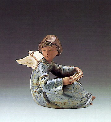 Lladro Angel And Friend 1989-94 Porcelain Figurine