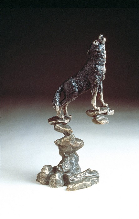 Mark Hopkins Wolf Bronze Sculpture