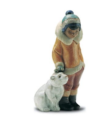 Lladro Eskimo Boy With Pet 1994-2001 Porcelain Figurine