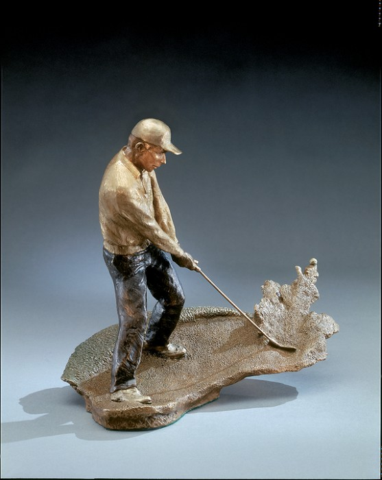 Mark Hopkins Bunker Shot Bronze Sculpture
