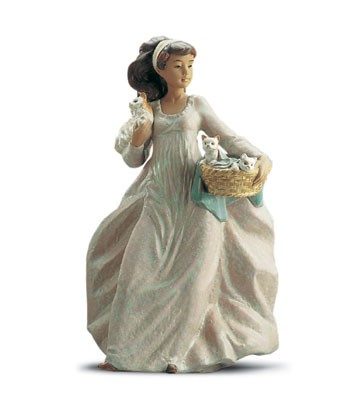 Lladro A Basket Of Fun Porcelain Figurine