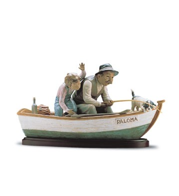 LladroFishing With Gramps 1996-2001Porcelain Figurine
