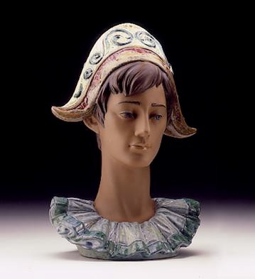 LladroPensive Harlequin Head 1997-99***Porcelain Figurine