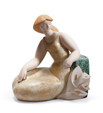 Lladro Lady With Lilies I Porcelain Figurine