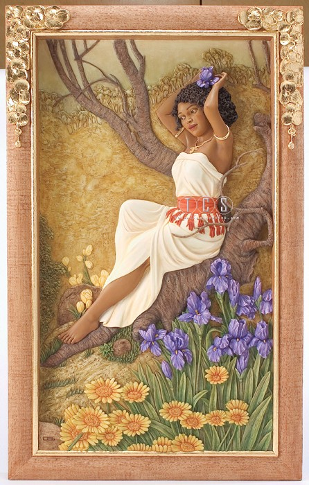 Ebony VisionsIris In Bloom Relief Wall Panel