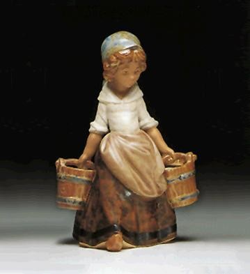 LladroGirl With Two Pails  1978-99Porcelain Figurine