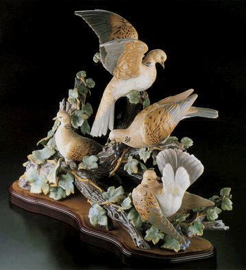 Lladro Turtle Dove Group Le750 1980-98 Porcelain Figurine