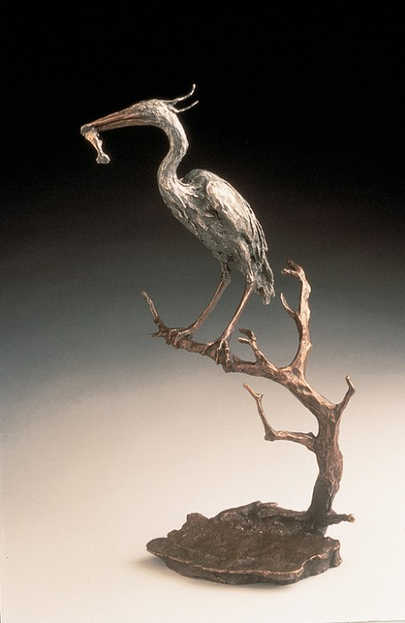 Mark Hopkins Heron Bronze Sculpture