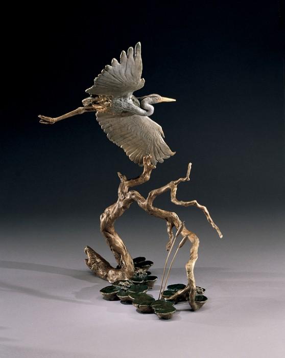 Mark HopkinsGreat Blue HeronBronze Sculpture
