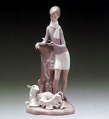 Lladro Boy With Lambs 1969-81 Porcelain Figurine
