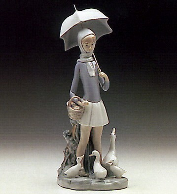 Lladro Girl With Umberella And Geese 1969-93 Porcelain Figurine