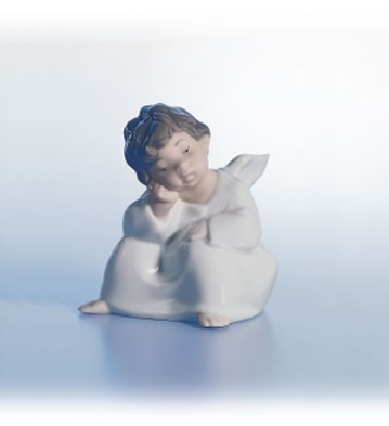 Lladro Angel, Thinking Porcelain Figurine