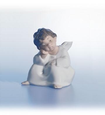LladroAngel, ThinkingPorcelain Figurine