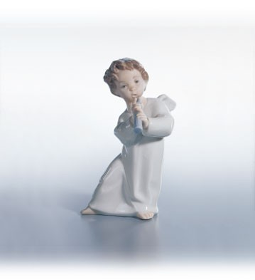Lladro Angel With Horn Porcelain Figurine