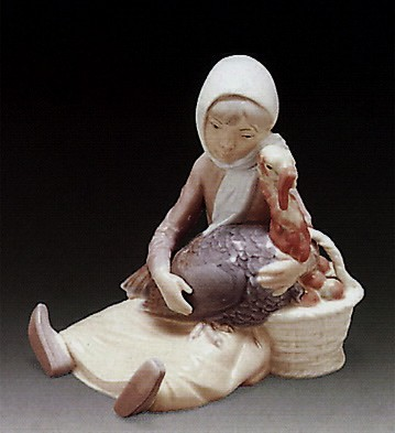 LladroGirl With Turkey 1969-81Porcelain Figurine