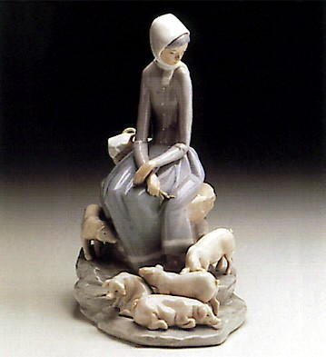 Lladro Shepherdess With Ducks 1969-93