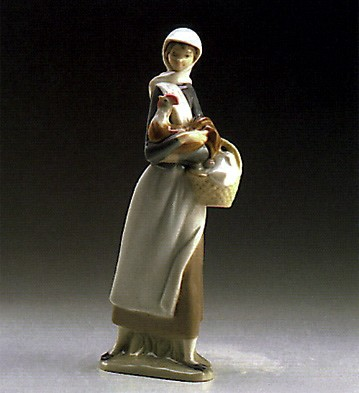 Lladro Girl With Cockerel 1969-93