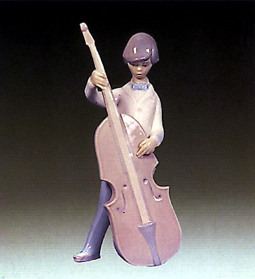Lladro Boy With Double Bass  1970-81 Porcelain Figurine