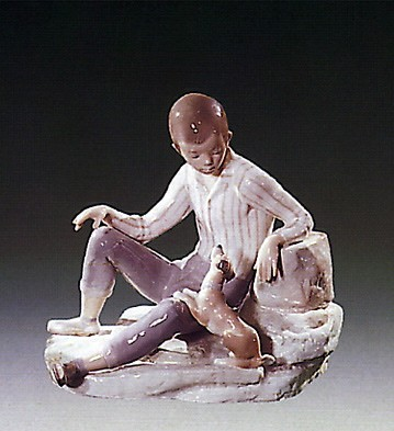 LladroBoy With Dog 1971-78Porcelain Figurine