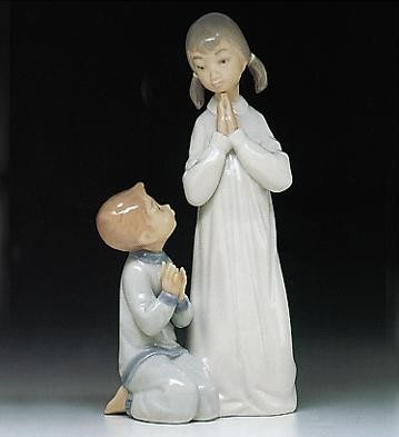 Lladro Teaching To Pray 1971-97 Porcelain Figurine