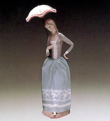 Lladro Woman with Umbrella 1972-81 Porcelain Figurine