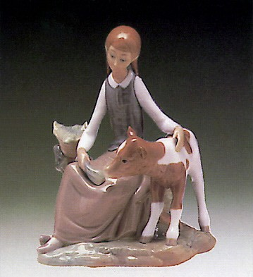 Lladro Girl With Calf 1972-81