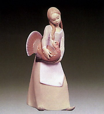 Lladro Girl With Turkey 1972-81 Porcelain Figurine