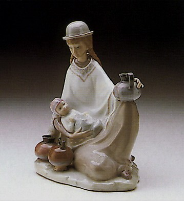 Lladro Peruvian Girl With Baby 1972-81 Porcelain Figurine