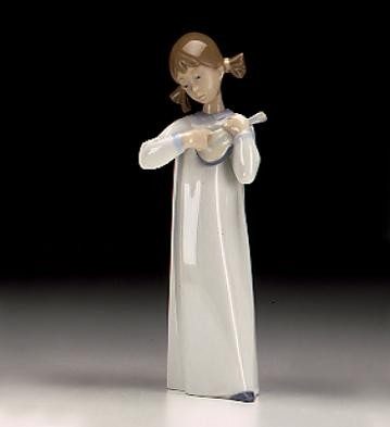 Lladro Girl With Guitar Porcelain Figurine