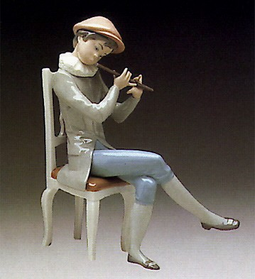 Lladro Boy Playing The Flute 1974-81 Porcelain Figurine