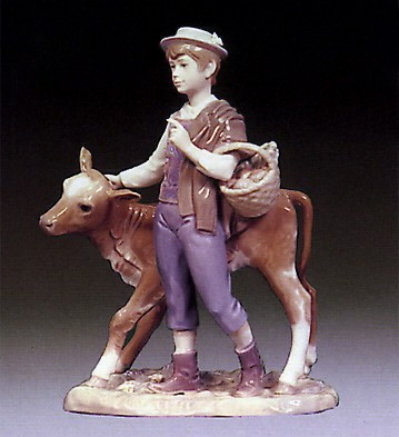Lladro Shepherd with Calf 1974-79