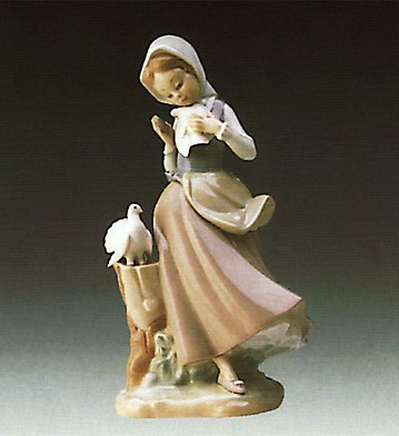 Lladro Girl With Pigeons 1974-90 Porcelain Figurine