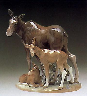 LladroElk Family 1978-81Porcelain Figurine