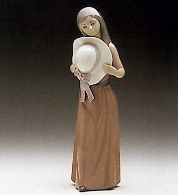 Lladro Bashful-Girl With  With Straw Hat Porcelain Figurine