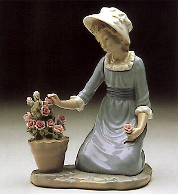 Lladro Flowers In Flower Pot 1980-85 Porcelain Figurine